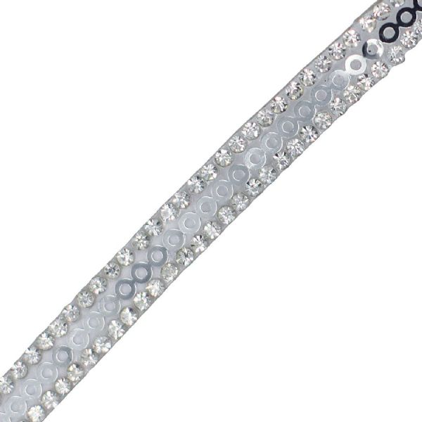 1 metre x 7 mm clear crystal and sequin